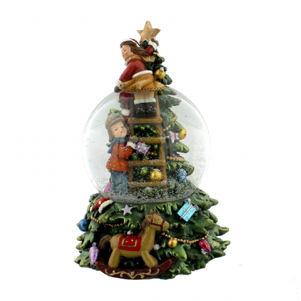 Large Hand Painted Musical Children & Christmas Tree Snow Globe ~ Plays Jingle Bells!